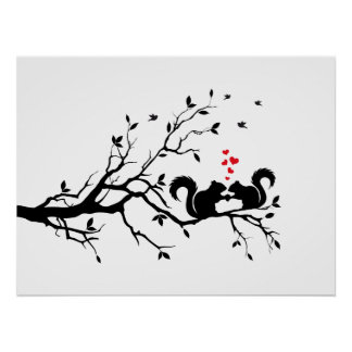 Squrrels with red hearts on tree branch poster