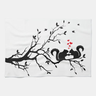 Squrrels with red hearts on tree branch tea towel