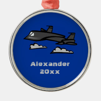 SR71 Blackbird Recon Plane Flying In Clouds Silver-Colored Round Decoration