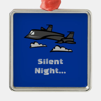 SR71 Blackbird Recon Plane Flying In Clouds Silver-Colored Square Decoration