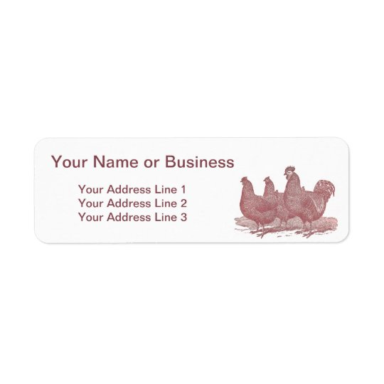 sRed Rooster and Hens Plymouth Rock Chickens Farm Return Address Label