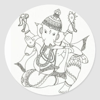 Sri Ganesha Classic Round Sticker