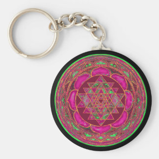 Sri Lakshmi Yantra Mandala Basic Round Button Key Ring