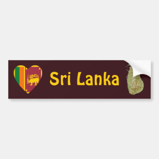 Sri Lanka Flag Heart + Map Bumper Sticker