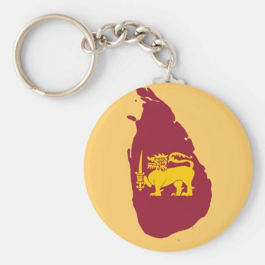 Sri Lanka flag map Basic Round Button Key Ring