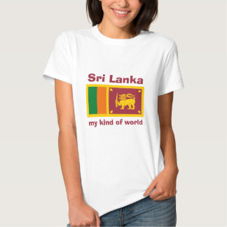 Sri Lanka Flag + Map + Text T-Shirt