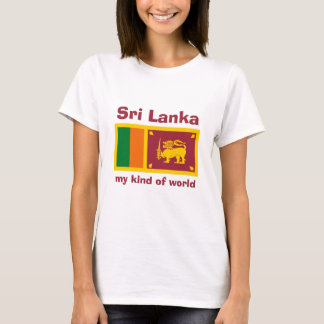 Sri Lanka Flag + Map + Text T-Shirt