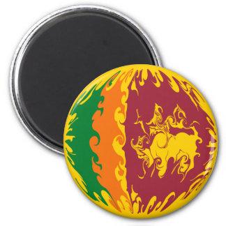 Sri Lanka Gnarly Flag 6 Cm Round Magnet