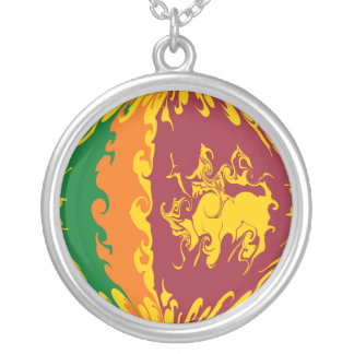 Sri Lanka Gnarly Flag Silver Plated Necklace