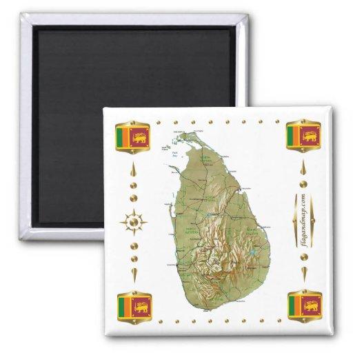 Sri Lanka Map + Flags Magnet