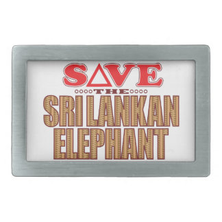 Sri Lankan Elephant Save Rectangular Belt Buckles