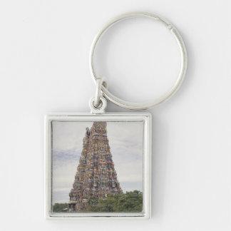 Sri Meenakshi Amman Temple, Madurai, Tamil Nadu, Silver-Colored Square Key Ring
