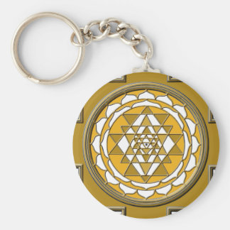 Sri Yantra Bronze Basic Round Button Key Ring