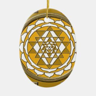 Sri Yantra Bronze Ceramic Oval Decoration