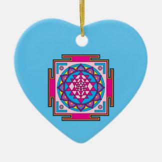 Sri Yantra Mandala Ceramic Heart Decoration