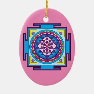 Sri Yantra Mandala Ceramic Oval Decoration