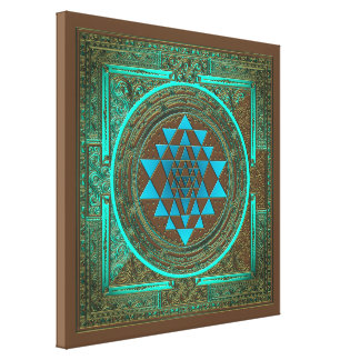 Sri Yantra Water Glow - Wrapped Canvas