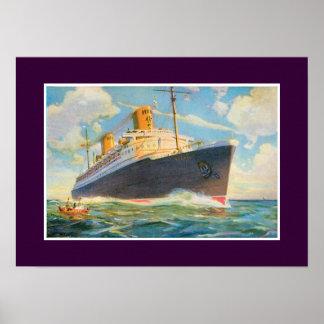 SS Bremen at Sea Poster