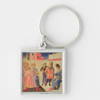 SS. Cosmas and Damian Before Diocletian Silver-Colored Square Key Ring