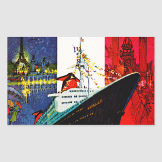 ss France with Eiffel Tower and Statue of Liberty Rectangular Sticker