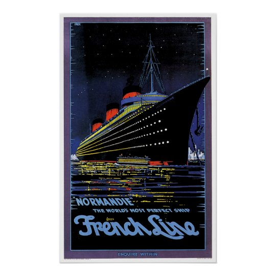 SS Normandie French Line Vintage Ship Ad Poster