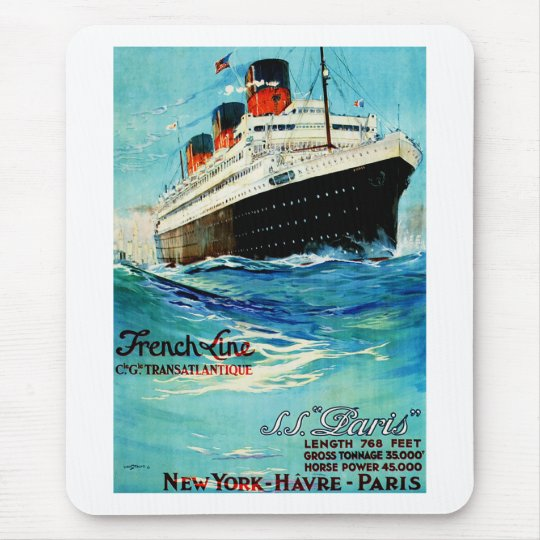 ss Paris ~ French Line Mouse Pad