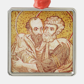 SS. Peter and Paul Embracing Silver-Colored Square Decoration