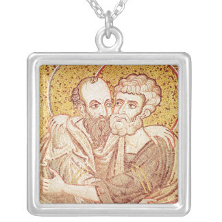 SS. Peter and Paul Embracing Silver Plated Necklace