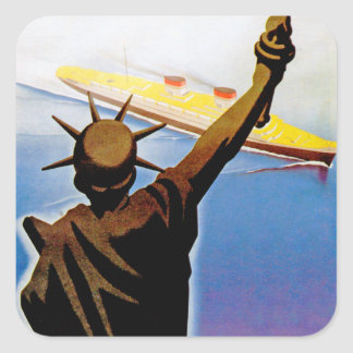 ss Rex passing Statue of Liberty Square Sticker