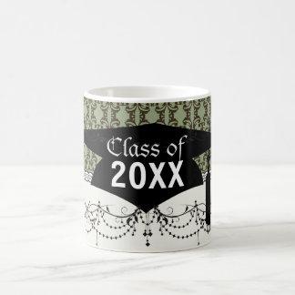 ssage olive green brown ornate damask graduation mugs