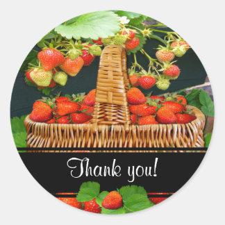 Sstrawberry Basket  ~ Thank You  Sticker