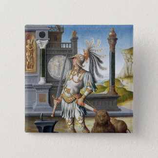 St. Adrian in Armour in an Open Landscape 15 Cm Square Badge