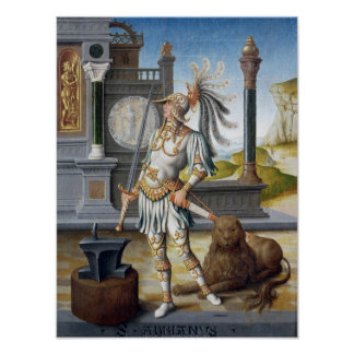 St. Adrian in Armour in an Open Landscape Poster