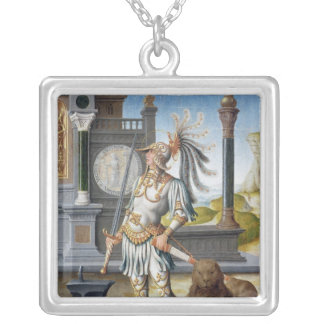 St. Adrian in Armour in an Open Landscape Silver Plated Necklace
