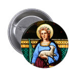 St Agnes of Rome, holding lamb and palm leaf 6 Cm Round Badge