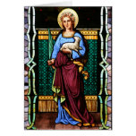 St Agnes of Rome, holding lamb and palm leaf Card