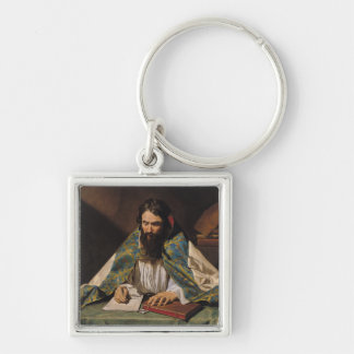 St. Ambrose , c.1633-39 Silver-Colored Square Key Ring