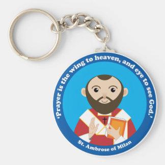 St. Ambrose of Milan Basic Round Button Key Ring