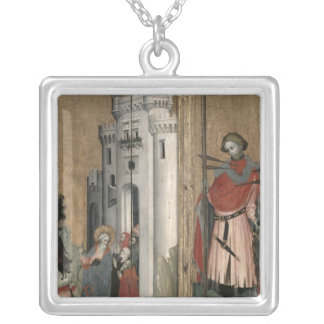 St. Andrew Chasing Demons from the Town Silver Plated Necklace