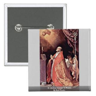 St. Andrew Corsini In Prayer By Reni Guido 15 Cm Square Badge
