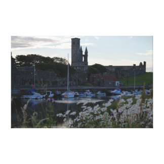 St Andrews Harbour and Flowers Canvas Print