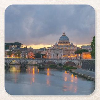 St. Angelo Bridge, St. Peter's Basilica, Rome Square Paper Coaster