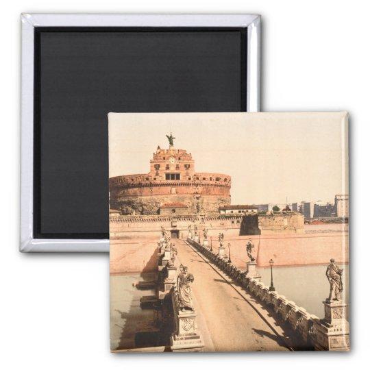St Angelo Castle and Bridge, Rome, Lazio Italy Square Magnet