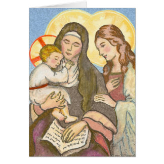 St. Ann with Jesus and Mary Greeting Card