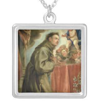 St. Anthony of Padua  adoring the Christ Child Silver Plated Necklace