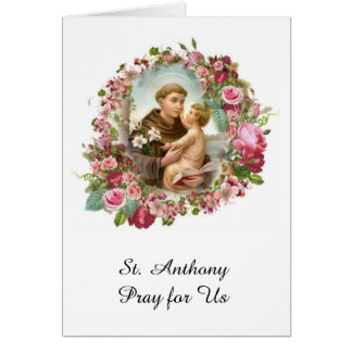 St. Anthony of Padua Baby Jesus Roses Card
