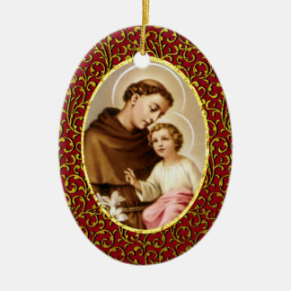 St. Anthony of Padua Personalize Background Color Christmas Ornament