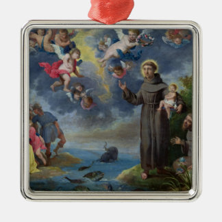 St. Anthony of Padua Preaching to the Fish Silver-Colored Square Decoration