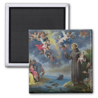 St. Anthony of Padua Preaching to the Fish Square Magnet