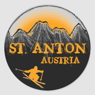 St. Anton Austria orange skier stickers